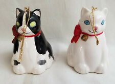 """Small Kitty Cat Bells Figurine One Black & White One White with Blue Eyes 3"""""""