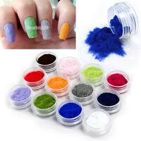 12 Color Velvet Flocking Powder Nail Art Tips Decoration Acrylic Polish Manicure