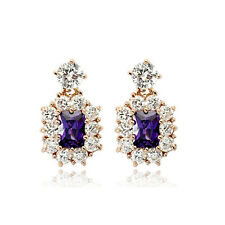 STUNNING 18K GOLD PLATED GENUINE PURPLE CZ & AUSTRIAN CRYSTAL DANGLE EARRINGS