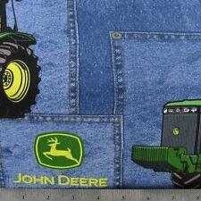 "Blue Green John Deere Print 42""W 15""L Window Curtain Valance Cotton  fabric"