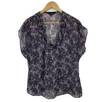 Portmans Womens Top Size 14 Sheer Blue Pink Short Sleeve Good Condition