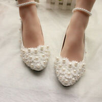 Women Bridal White Lace Wedding Shoes Pearls Ankle Strap Flats Pointed Slip-