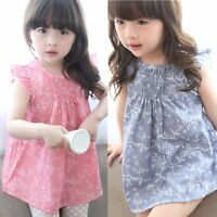 Cute Baby Kids Girls Summer Dress Sleeveless Floral Dress Toddler Clothes 6M-5Y