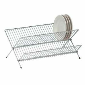 2 Tier Chrome Kitchen Dish Drainer Rack Foldable Sink Plate Cup Cutlery Drainer