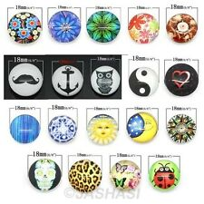 10 Chunk Charm Glass Buttons Snap Press Stud Bead Jewellery Random Mix