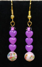 Lavender Harts pink millefiori bead, Dangle Earrings, French Hooks