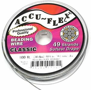 100' beading wire Accuflex clear over steel 49 strand .024 inch