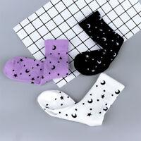 Fashion Moon Star Pattern Harajuku Women Winter Autumn Warm Socks Cotton Sock