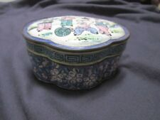 Quad Lobed Canton Enamel Copper Box Musicians Late Qing or Republic 19th/20th c.