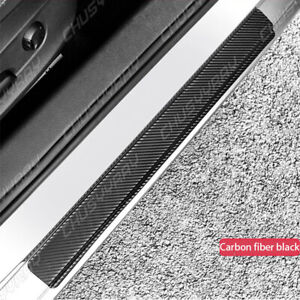 Car Door Sill Pedal Cover Panel Step Protector Strip Carbon Fiber Scuff Plate 4X