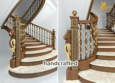 Newel posts stair Lion (Set of 2), Wooden stair parts