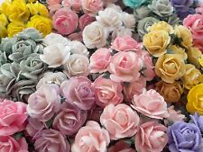 100 Cute Handmade Mulberry Paper Roses - 10mm - Pastel Mix Rose Embellishments!