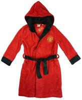 Boys Dressing Gown MANCHESTER UNITED Football Hooded Robe MUFC 3 to 12 Years