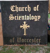 BIG VINTAGE CHURCH OF SCIENTOLOGY SIGN WORCESTER MASS.