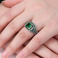 Size 6/7/8 Rhodium Plated Women Wedding Engagement Ring Set Emerald Bridal Halo