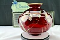 "Fenton Art Glass Ruby Hand Painted ""Floral Fantasy"" Decorated Vase Home Decor"