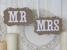 Mr Mrs Brown Paper Bunting Chair Signs Wedding Party Banner Garland Photo Props