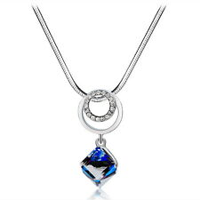 Blue Sapphire Magic Cube Pendant Necklace 18K White GP Swaroski Crystal Jewelry
