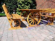 Rustikale Gartenmöbel Kutsche  Massivholz  Sitzgarnitur Sitzgruppe Eichenholz