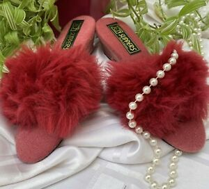 vintage fluffy retro mules slippers crimson uk size 3