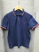 Fred Perry Polo Shirt. Navy Red. Uk M