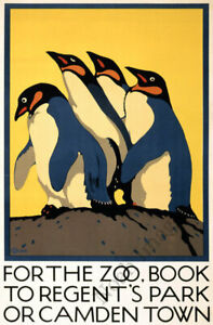For the Zoo Penguins vintage train travel poster repro 16x24