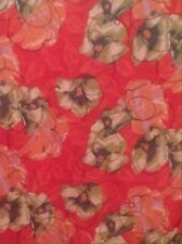 Liz Sinclair 100% Polyester Scarf With Red, Green, And Peach Flowers w/ Black