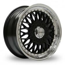 """17"""" LENSO BSX BLACK MIRROR LIP ALLOY WHEELS ONLY BRAND NEW 4X114.3 ET35 RIMS"""