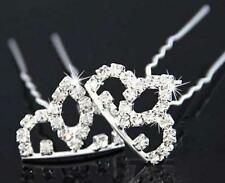 Crown Diamante Crystal Hair Pins Clips Prom Wedding Bridesmaids