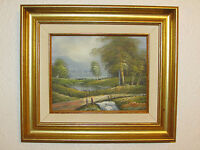 Vintage Original Oil Painting On Canvas 'Landscape', Signed By Rason