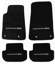 NEW BLACK Floor Mats 2010-2015 Camaro Embroidered Logo and SS in Silver All 4