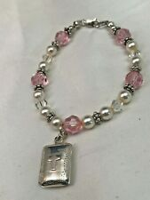 PINK ROSE SWAROVSKI CRYSTAL PEARL Bracelet SHINY CROSS PRAYER BOX S925 Beads NEW