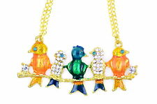 Art Deco color oro smaltato con cristalli uccelli coro collana