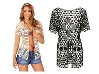 Womens Cotton Knitted Jacket Cover Up Ladies Crochet Beach Summer Holiday Top
