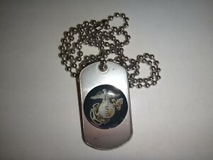 US MARINE CORPS Insignia Stainless Steel Dog Tag + Ball Chain