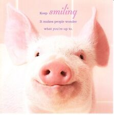 """""""IN THE PINK"""" - FUN PIG BIRTHDAY/GREETING/ANY OCCASION CARD - SMILING - 09"""
