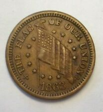 1863 The Flag Of Our Union DIX Shoot Him On The Spot Coin Civil War Token