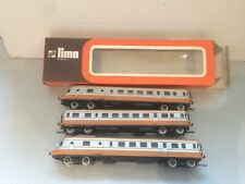 Lima 1003L, & 1004/5 SNCF Power/dummy Railcars with centre coach, boxed, tested.
