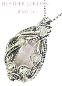 Wire-Wrapped Pink Kunzite Crystal Pendant in Sterling Silver with Morganite