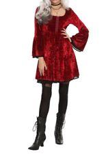 Hot Topic Red Velvet Dress Bell Sleeves Black Trim Goth Size Medium