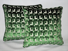 """2 Emerald Green & Cream Chenille Cushions Piped with Filler Pads 16"""" 40cm"""