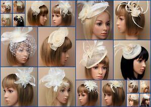 Cream Fascinator Hatinator  Wedding Prom Clip Comb Band Feather, Lot