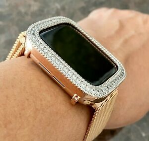 Bling Apple Watch Series 4/5/6 Bezel Case Face Zirconia Diamond Rose Gold 44 mm