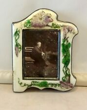 Art Nouveau SILVER ENAMEL picture frame flower decoration