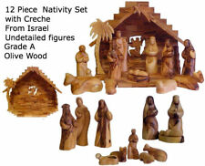 Grade A Olive Wood Nativity Set~13 Piece Made in the Holy Land! Faceless Figures