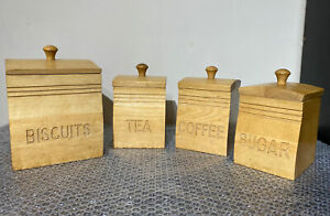 Tea Coffee Sugar Biscuit Canisters Wooden Airtight Kitchen Storage Set