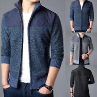 Men's Casual Slim Fit Stand Collar Zipper Warm Knitwear Knitted Sweater Jacket