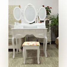 Fashion Shabby Dressing Table Vanity Makeup with 7 Drawers, 3 Mirrors and Stool