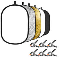 Neewer 5-in-1 Studio Photography Light Reflector with 6-Pack Backdrop Clamps Kit