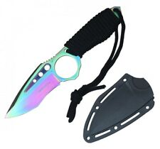 "Tactical Knife Wartech 9"" Overall Paracord Full Tang Rainbow Boot Knife + Sheath"